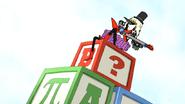 S5E25Mordecai on Toy Blocks