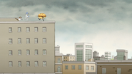 S6E27.105 Mordecai and Rigby Chasing the Sandwich on a Building
