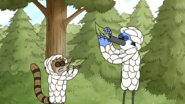 S5E07.044 Mordecai and Rigby Drinking Water From Leaves