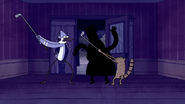 S5E08.125 Mordecai and Rigby Attacking the Mysterious Figure