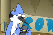 Mordecai looking at his phone