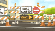 S5E32.033 Road Closed Signs