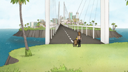 S7E01.061 Rigby and Sad Sax Guy at the Bridge to Dumptown