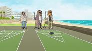 S7E01.105 Bum Mordecai Playing Shuffleboard