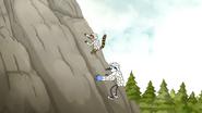 S5E07.045 Mordecai and Rigby Climbing Down a Rock