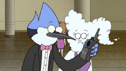 S6E28.043 Mordecai Getting a Call on the Walkie Talkie