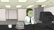 S7E25.119 Muscle Man Typing at His Computer