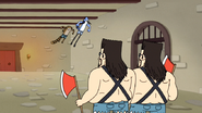 S4E13.201 Mordecai and Rigby Leaping Towards the Twin Guards