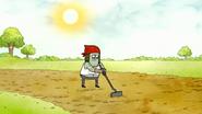 S7E25.010 Muscle Man Plowing the Field