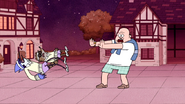 S4E31.129 Country Club Leader Throwing Mordecai and Rigby