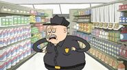 S3E25 Fat security guard cathcing his breath after chasing Mordecai and CJ