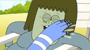 S7E29.033 Mordecai Slapping Muscle Man's Face