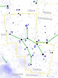 Lupus constellation map