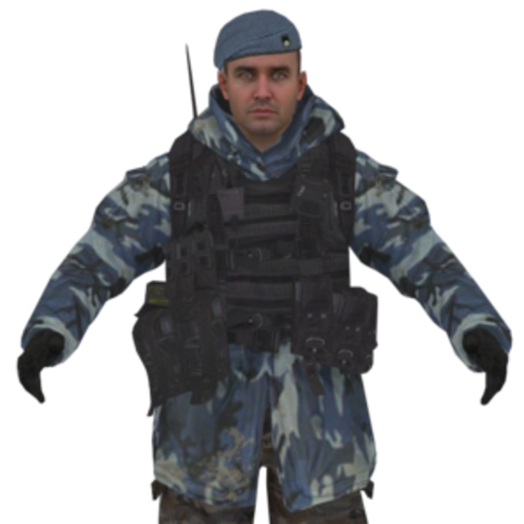 Inner Circle solider with blue camouflage uniform.