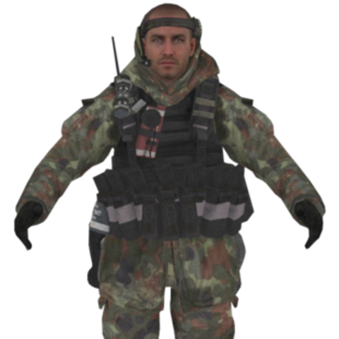 Inner Circle soldier with woodland camouflage uniform.