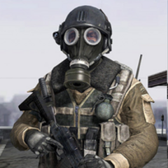 Blackburn Wearing A JTF SOU MK2 Prototype Armor With Gas Mask During Peacekeeping Missions And Operations