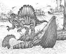 Spinosaurus and stomatosuchus by bucketman123-d4u4106