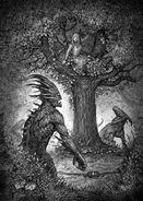 Barren2-500x704-Demons stalk woman in tree by Dominik Broniek