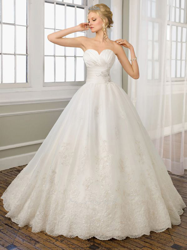Image - Vintage Ball Gown Lace Ruched Applique Wedding Dress-1 copy ...