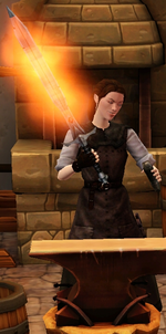 Fiery mithral longsword sharpened by blacksmith
