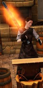 Fiery steel longsword sharpened by blacksmith