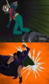 Robin defeats catwoman