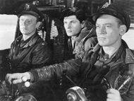 Hendry, Dykes and Bob in the cockpit - The Thing (1951)