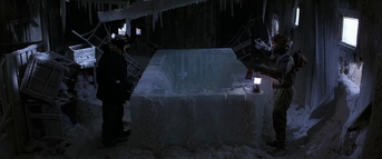 Mac and Copper discover the ice block - The Thing (1982)