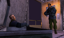Blake confronts an infected Pierce - The Thing (2002)