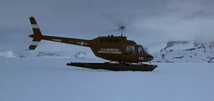 American Helicopter arriving at crash site - The Thing (1982)