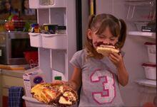 Chloe thunderman eating birthday cake