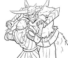 Remy and Gruul lock horns fan art by @caitlinc37