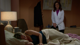 Dr. Anderson watches Sharon sleep
