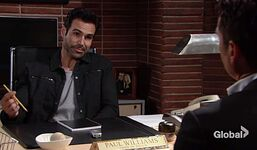 Rey using Paul's office