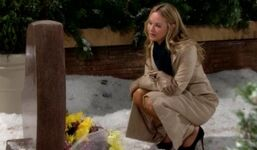 Sharon at Cassie's grave