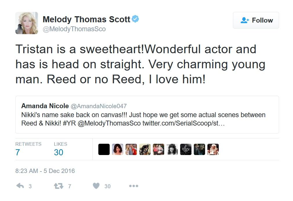 Melody Thomas Scott praises Tristan Lake Leabu