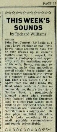 1971-06-20 RT Sounds John Peel Bowie concert