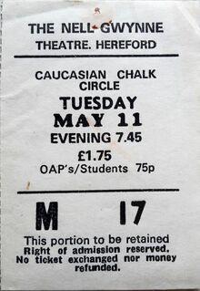 1982-05-11 Caucasian Chalk Circle theatre ticket