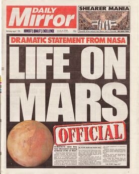1996-08-07 Daily Mirror 1 cover Mars