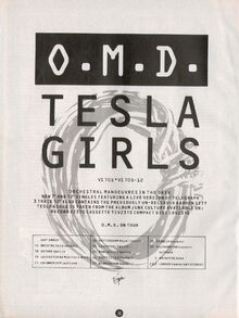 Tesla Girls single ad and tour dates Smash Hits 1984-08-30