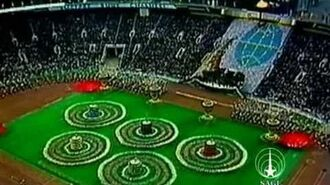 The final scene of the 1980 Opening Ceremony Moscow Olympics
