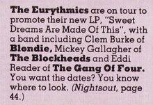 Smash Hits, February 17, 1983 - p.12 Eurythmics line-up