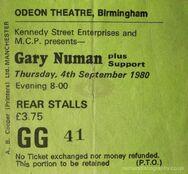 1980-09-04 Gary Numan teletour first date