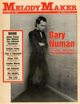 1980-10-18 MM 1 cover Gary Numan