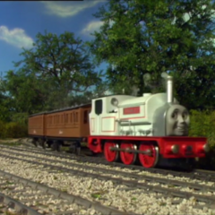 Stanley pulling Annie and Clarabel