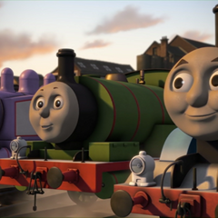 Rosie with Thomas and Percy