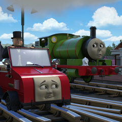 Winston with Percy and Sir Topham Hatt