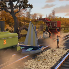 Harvey with Duck, Oliver, and Skiff