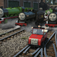 Winston surrounded by engines