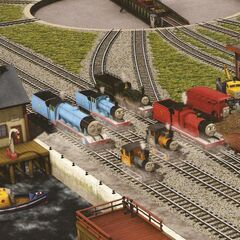 Butch with Bertie and the other engines